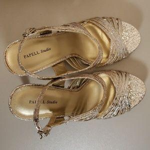 Papell Studio Alexis Gold Open Toe Sandals Heels